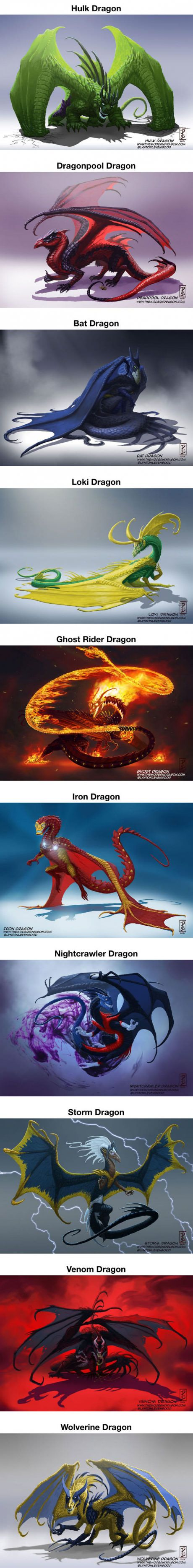 Re-Imagined Popular Comic Characters As Dragons. I think the ghost rider design is my favorite but they're all really creative!