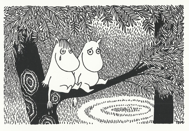 Tove Jansson - Snork Maiden and Moomintroll postcard via Kiosk Mamymuminka (Moomin PL)