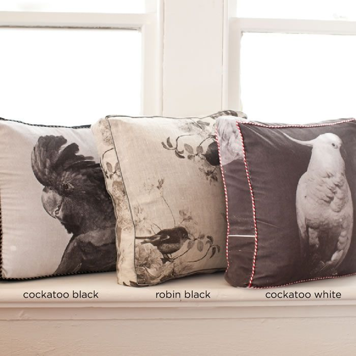 Cockatoo hand printed cushion by Bonnie and Neil - black on white