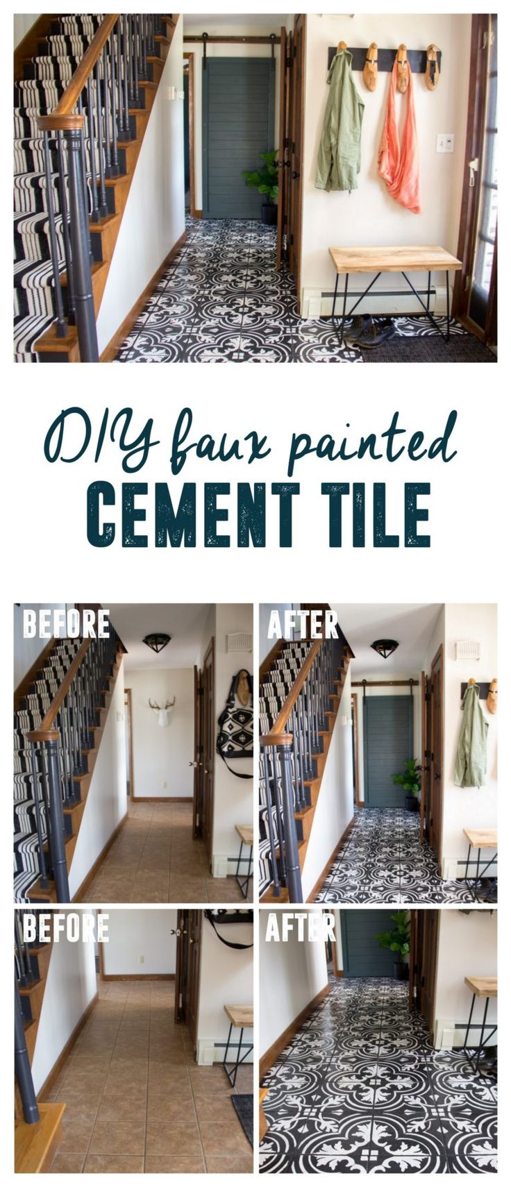 How to Stencil Cement Tile Floors