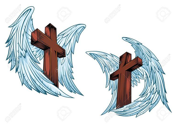 Cruces De Madera Con Alas De ángel Azules Aislados Sobre Fondo Blanco Adecuadas Para El Diseño O Un Tatuaje Religioso Ilustraciones Vectoriales, Clip Art Vectorizado Libre De Derechos. Image 41422233.