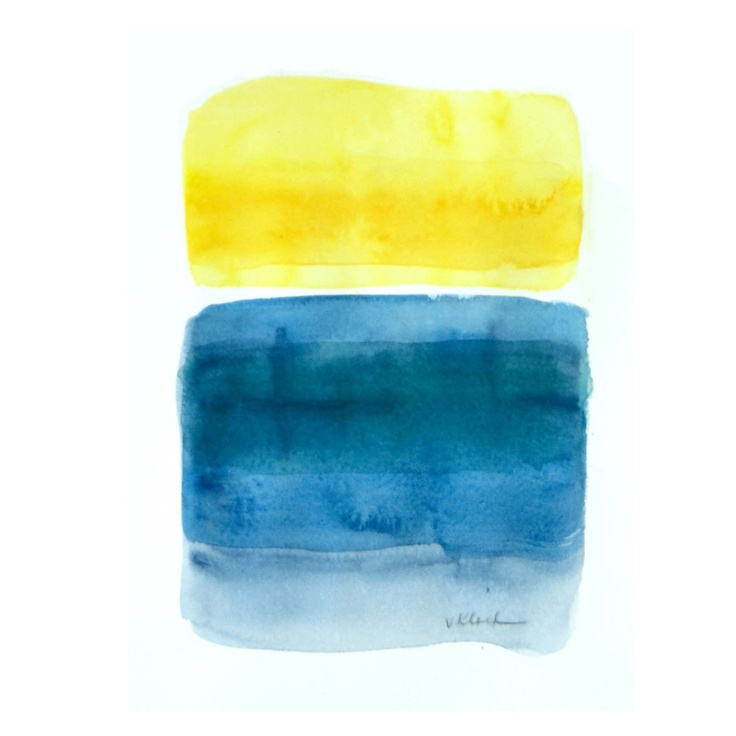 Original Abstract Painting yellow blue teal  Art on watercolor paper Sun Splash, by Victoria Kloch