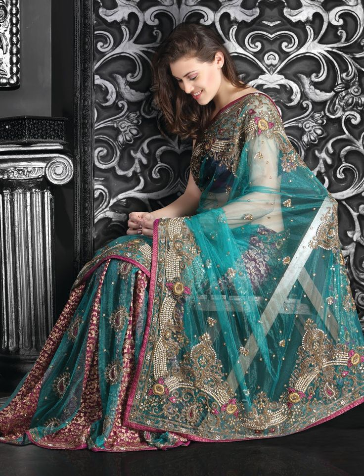 Turquoise Color Net Brocade Saree. SEE DETAIL - http://www.gravity-fashion.com/1722-turquoise-color-net-brocade-saree.html