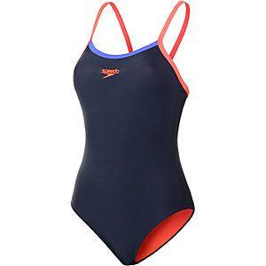 SPEEDO Thinstrap Muscleback Schwimmanzug Damen marine/neonorange im Online Shop von SportScheck kaufen