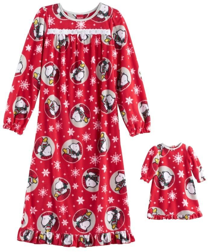 Snoopy Christmas nightgown for girls and matching doll clothes! #affiliate