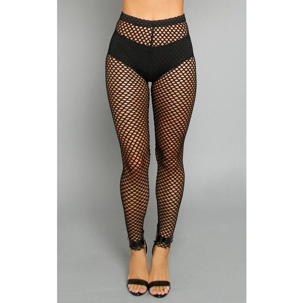 High Rise Fishnet Leggings ($12) ❤ liked on Polyvore featuring pants, leggings, black, high rise pants, high-waist trousers, see through legging, high-waisted pants and sheer pants