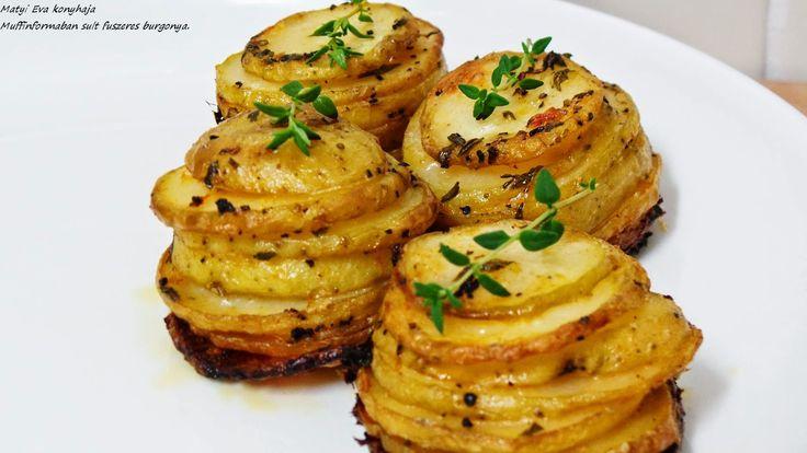 Muffinformaban sult burgonya : Hozzavalok 6 kisebb burgonya, kb olyan atmeroju legyen ami a muffinsutobe belefer. Olivaolaj, so, bors, ...