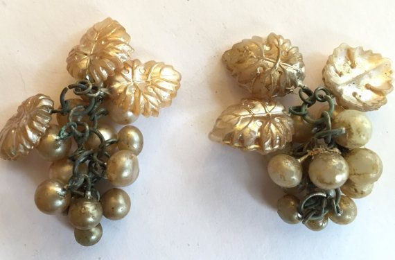 Bargain priced ! Cha cha cha Carmen Miranda!  These are beautiful handmade vintage glass grape dangles or drops or beads or charms. These old supplies