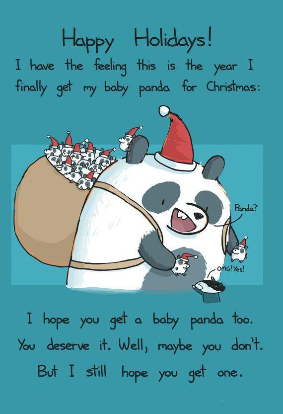 Happy Holidays Panda Card Panda Card Funny Christmas Jokes Funny Christmas Card Sayings