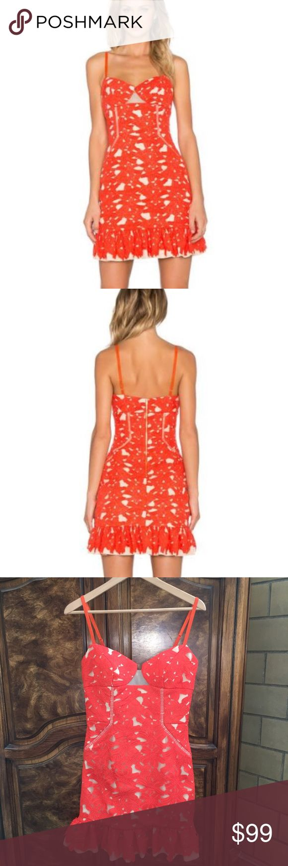 THREE FLOOR  Orange Crocheted Mini Dress This dress is brand new with tags.  This piece is a beautiful crocheted orange pattern over a cream colored lining. It is a size 4, has a back zipper and spaghetti straps. Three Floor Dresses Mini