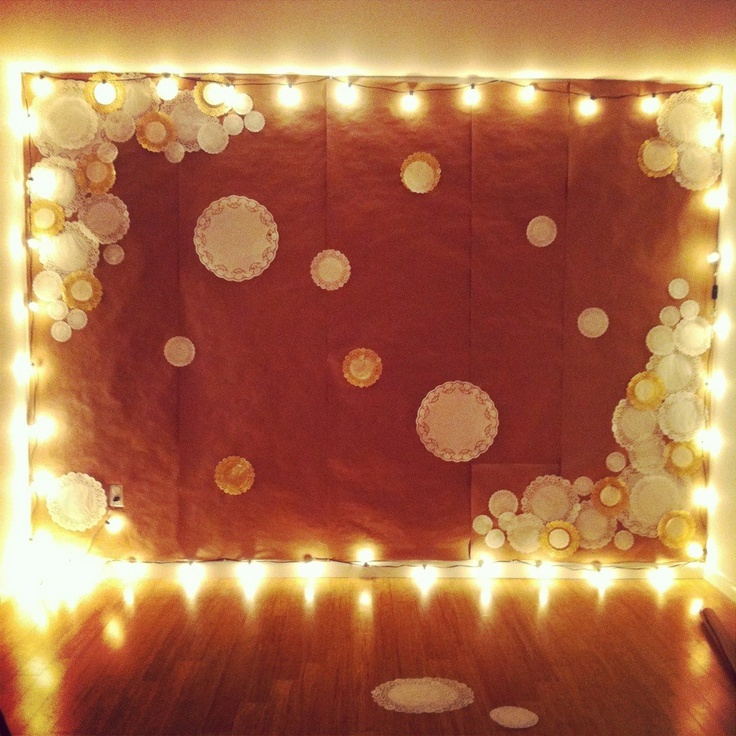 funnest party wall Party decor Pinterest Doilies, Backdrops and Twinkle Lights