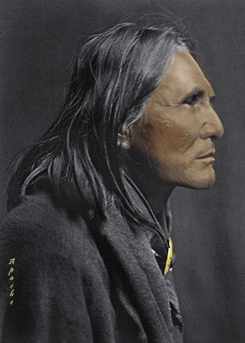 Alchise, 1853-1928, Chief White Mountain Apache (Western Apache). Indian Scout (Sergeant). Medal of Honor. By Edward S. Curtis, 1906 (colorized).