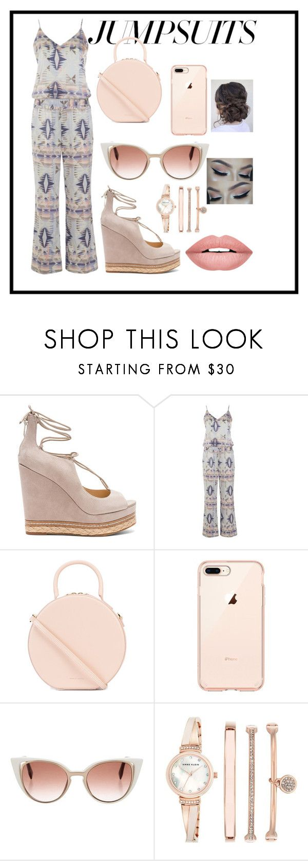 """""""rose gold /// jumpsuits//  please pick me"""" by mollie-spellman ❤ liked on Polyvore featuring Sam Edelman, Mansur Gavriel, Fendi, Anne Klein, Forever 21 and jumpsuits"""