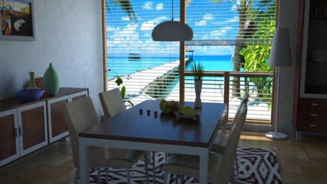Dinning Room Illumination, Sun and Sky with Maya 3D and Mental Ray