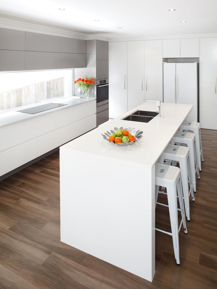 Modern White And Timber Floor Kitchens