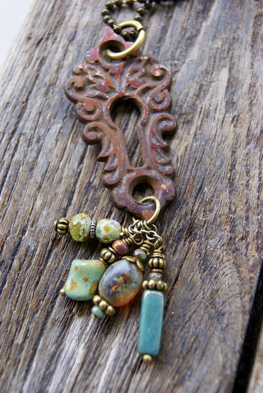 Vintage hardware, keys & beads are repurposed & made into jewelry. Lots of great inspiration!