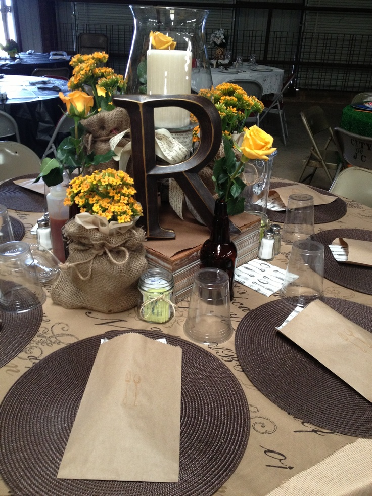rustic table decor maybe for bride and groom table