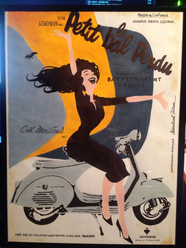 """""""Lady Vespa"""" A Gift to a Good Friend . . .  300gsm Cartridge Paper, (Sanded Acrylic & Ink) (Stained Vintage finish) (30 x 40cm) Framed . . ."""