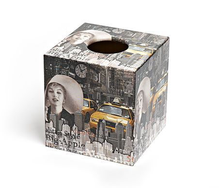 New York Marilyn Monroe Tissue Box Cover by Crackpots Tissue boxes and Bins - decoupage, handmade, wooden