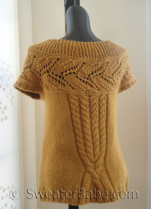 PDF Knitting Pattern for Extra Spicy Mustard Top-Down Cardigan from SweaterBabe.com