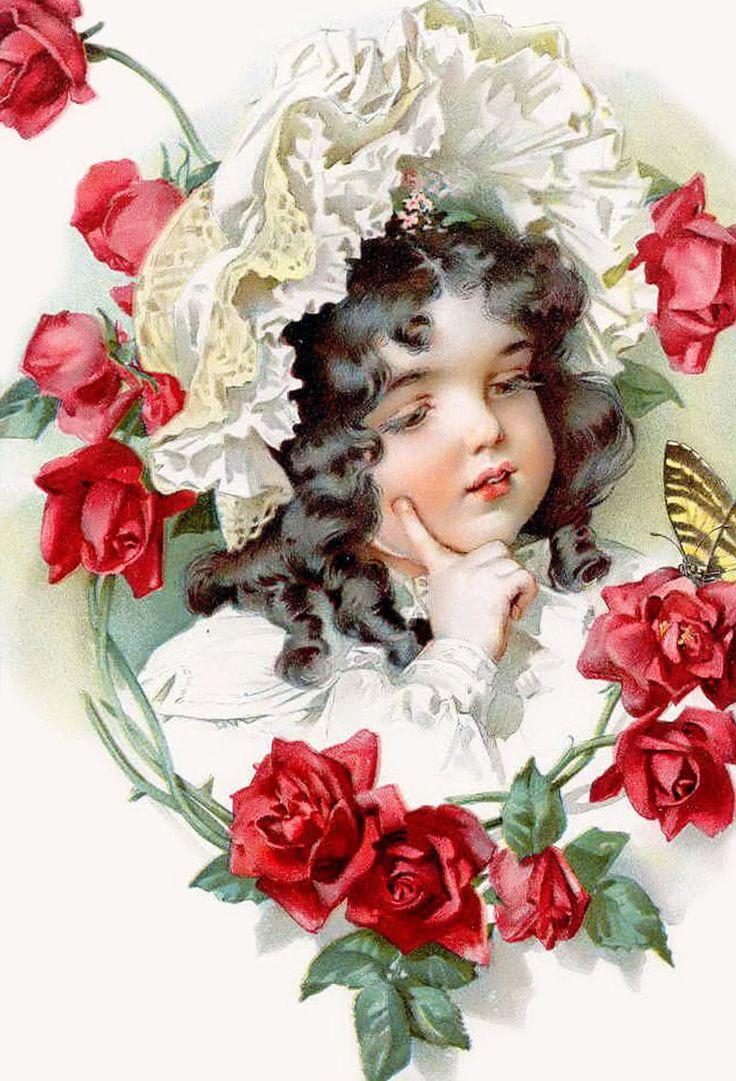 Картинки девочка с цветами в руках винтаж, днем рождения отправку