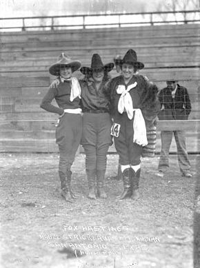 Circa 1925: Mabel Strickland, Fox Hastings, and Bea Kirnan. Photo by Ralph Russell Doubleday -- many more of his cowgirl photos at the link