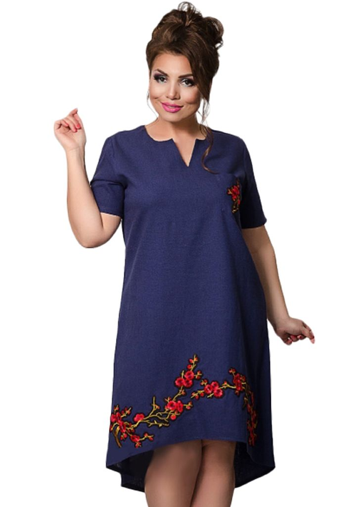 Floral Embroidery Big Size Women V Neck High Low Dress_Plus size Dress_Plus size Clothing_Sexy Lingeire | Cheap Plus Size Lingerie At Wholesale Price | Feelovely.com