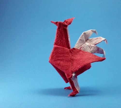 Origami Rooster by John Montroll folded by Gilad Aharoni