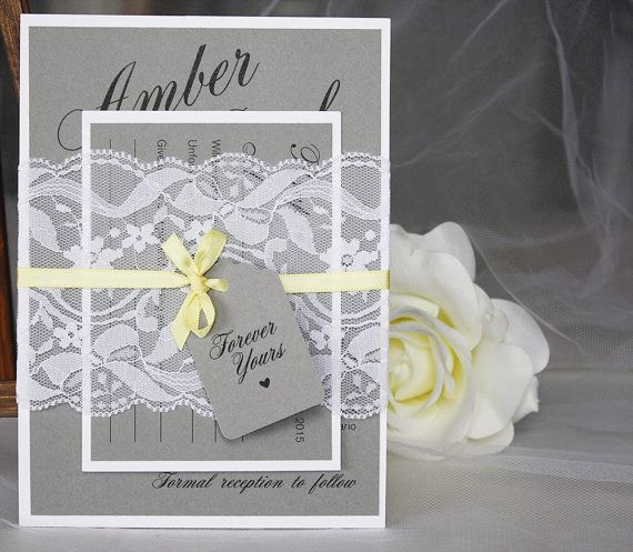 Grey And Yellow Wedding Invitations Lace Vintage Rustic
