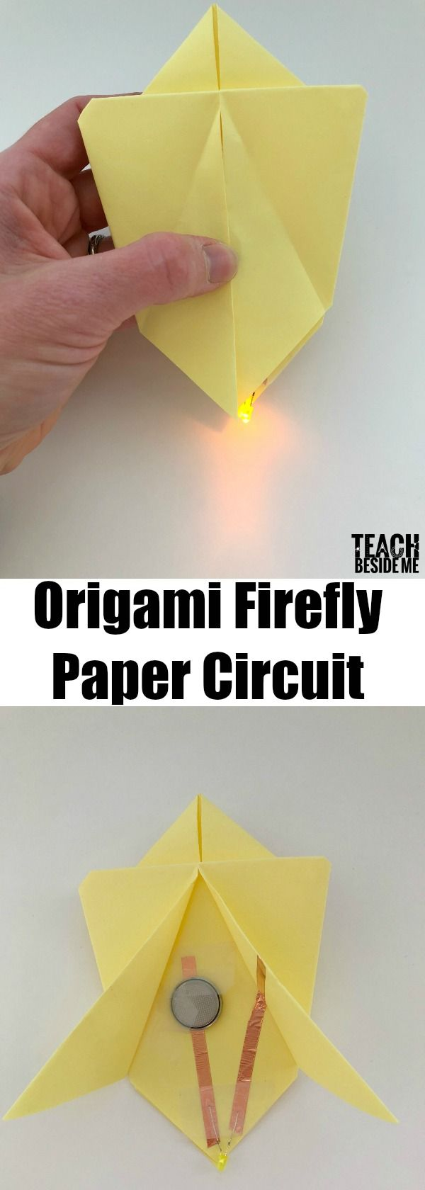 Origami firefly paper circuit. Hands-on STEM for kids!  Fun technology art and nature fusion! #STEM #handsonlearning #insects #technology #STEAM  via @karyntripp