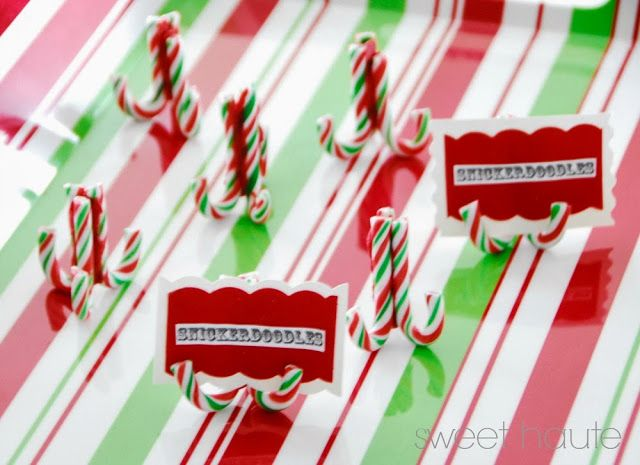 DIY Christmas Place Card, Buffet Card Holders- SWEET HAUTE tutorial. Can be used at your next brunch or cookie exchange party!!