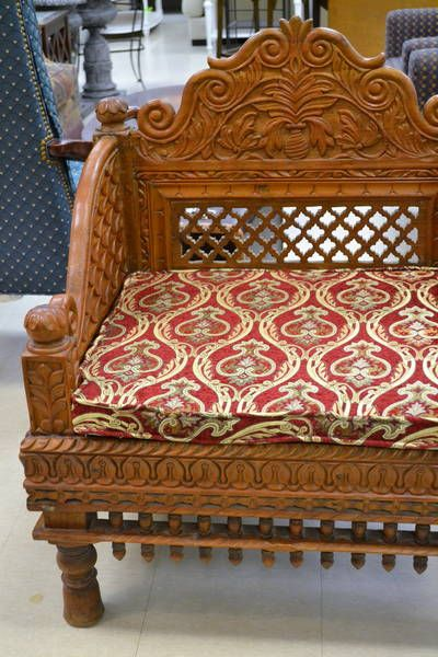 Traditional Indian Throne Chair - Carved Teak Wood with Floral Designs on  Hand and Back Rest