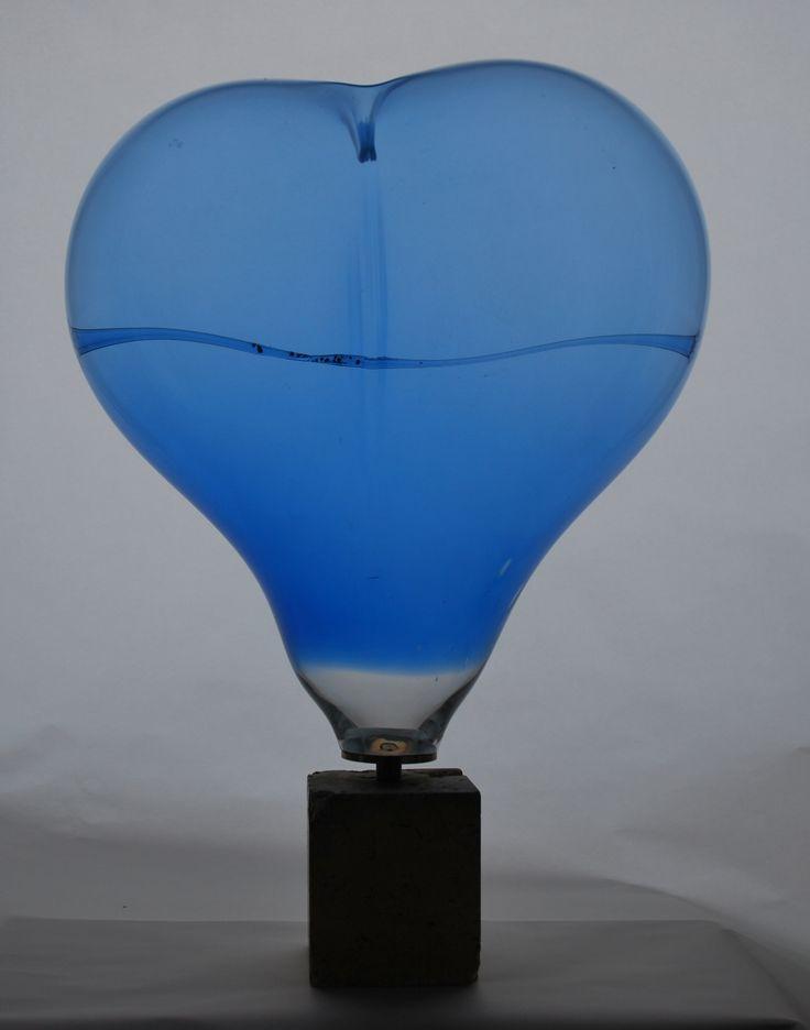 """Lubomir Blecha, """"Cobalt heart of his Majesty Mr. Holzner"""" glass object, H: 55,0 cm, 1975-77, glassworks Zlatno, Czechoslovakia"""