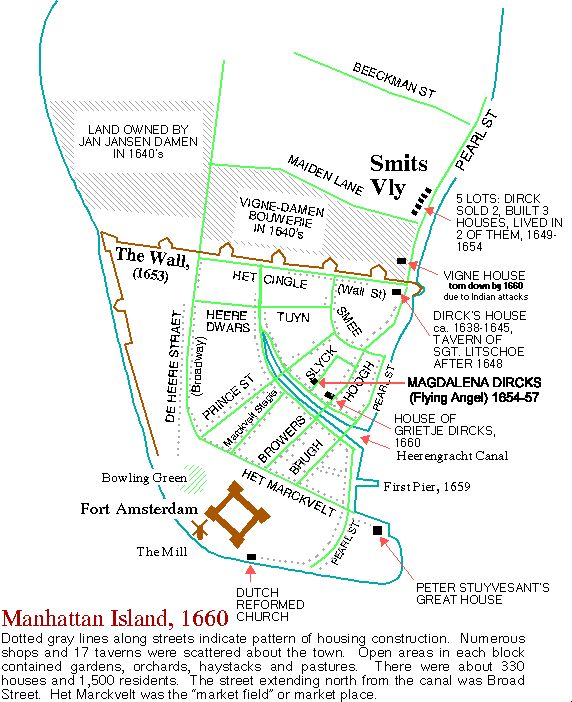 Map of New Amsterdam, 1660. Magdalena Dircks-Rosencrantz is my 10th great-grandmother, Christine Vigne-Volckertszens  (11th) was her mother. Christine's mother (12th) was married to Jan Jansen Damen, Christine's step-father.