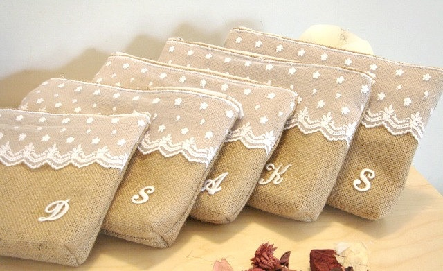 Bridesmaid gifts idea. Monogrammed burlap cosmetic case - make up bag with tulle lace. elegant classy rustic clutch for wedding.