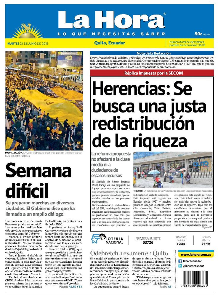 """Acá nuestra portada de hoy, 23 de junio del 2015. Tema destacado: """"Semana difícil""""."""