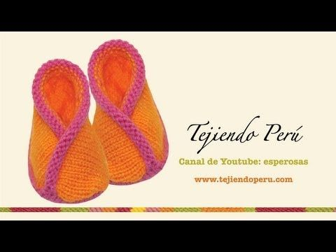 ▶ Zapatitos kimono (con bordes cruzados) tejidos en dos agujas o palitos para bebés - YouTube