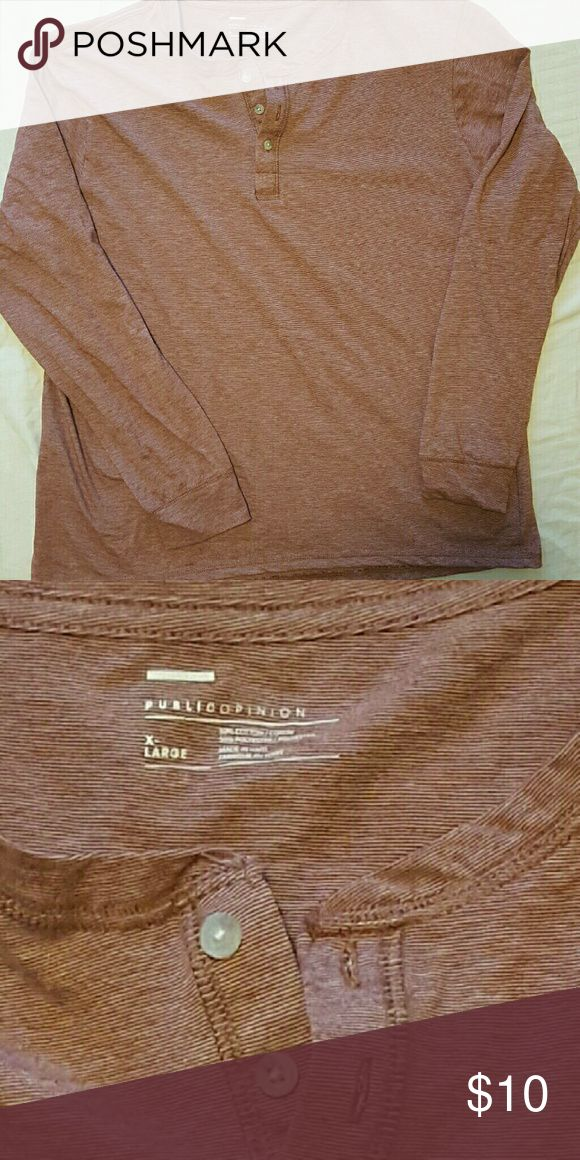 Men's Public Opinion Henley This public opinion henley shirt has never been worn.  It is a small red and white striped pattern.  NWOT Size XL Public Opinion Shirts
