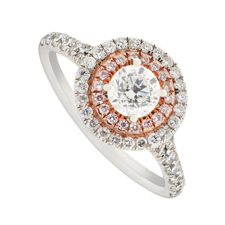 Platinum 104 Carat White And Pink Diamond Cluster Ring