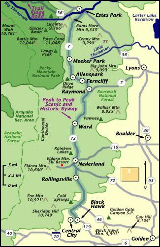 peak to peak scenic byway map rocky mountain national park rmnp colorado
