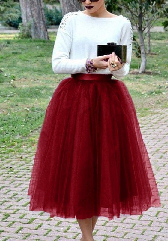 87b0e7a6e5bd49 Mi-longue jupe plissé taille élastique tutu tulle femme élégant ...