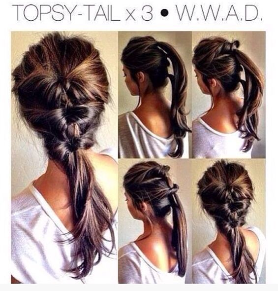 I love this easy hair style. Sometimes I add a fishtail braid at the bottom for extra effect.