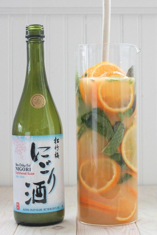 Tangerine Ginger Sake Sangria...Nigori sake, sugar, water, ginger, tangerines, mint.