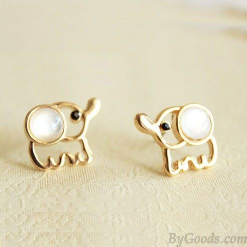 White Opal Lovely Elephant Earrings Studs|Earrings Studs - Jewelry&Accessories|ByGoods.com
