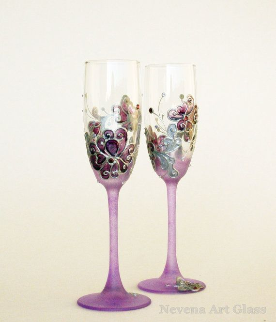 $61.50 ABSOLUTELY GORGEOUS!!! Wedding Glasses, Toasting Glasses, HAND PAINTED, Champagne Glasses,  Personalized glasses, Lavender Purple, Set of 2