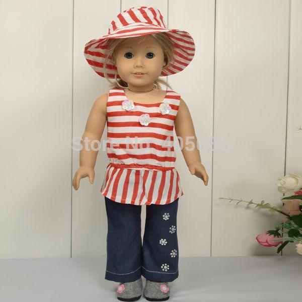 Шапка + Топ + Летние Джинсы Экипировка Одежда Для 18 American Girl Ручной
