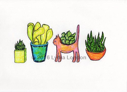 Succulent Plant Pots Letter Size by LydiaLondonArtCanada on Etsy