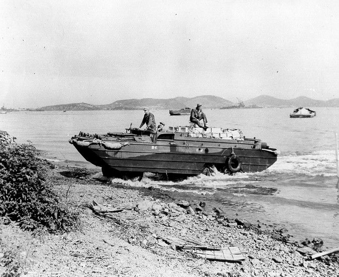 Fully loaded DUKW coming ashore in the Philippine Islands, circa 1944