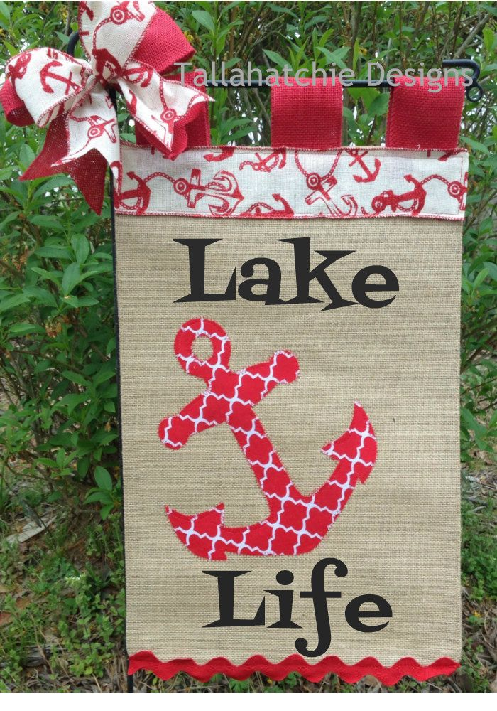 Anchor Flag Personalized Yard Flag  Lake Life Garden Flag  Burlap Welcome Flag  Lake Decor Garden Flag  Burlap Sign by TallahatchieDesigns on Etsy