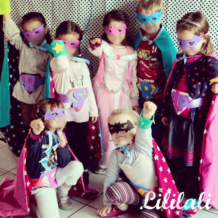 anniversaire super héros fille 5 ans DIY capes